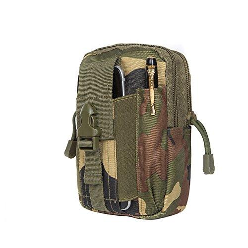 Zeato Tactical sacchetto Edc Utility gadget per cintura porta marsupio con telefono cellulare iPhone 6/6Plus 7/7PLUS Samsung Galaxy S8S7S6LG HTC e più, Uomo, Black Camouflage