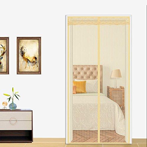 Magnetische Vorhang Moskito 100x220cm, Balkon Schlafzimmer Moskito Vorhang Magnetischer Vorhang, Kinder und Haustiere der automatischen Schließung der Bildschirm Fenster Netze Fliegengitter Tür Beige (Vorhang-bildschirm)