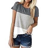 iHENGH Damen Kurzarm Rundhals Dreifarbiges Blockstreifen-T-Shirt mit Streifen Casual Blouse(X-Large,Grau)