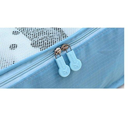 Hollwald Reisegepäck 6-er Sets Reisetasche Kleidertaschen Organizer Taschen Kofferorganizer Aufbewahrungstasche Packsystem Tasche für Unterwäsche Beautycase Schminktasche Farbwahl (Grau) Weinrot