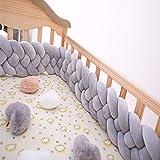 FZYQY Bettschlange geflochten, Baby Nestchen Kinderbett Stoßstange Weben Bettumrandung Kantenschutz Kopfschutz für Babybett Bettausstattung,Gray,3meters