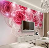 Papier Peint 3D Rose Rouge Romantique Décoration Murale Home Decor Art