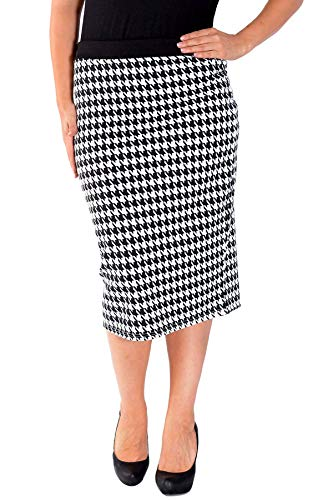 Nouvelle Collection Dogtooth Ponte Pencil Skirt Cream 16-18 -