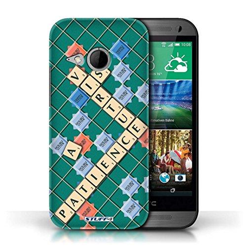 Kobalt® Imprimé Etui / Coque pour HTC One/1 Mini 2 / Connaître conception / Série Mots de Scrabble Patience Vertu