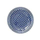Krasilnikoff Dessert Plate/Kuchenteller/Frühstücksteller/Teller - Porzellan - Blau - Weiß Geblümt - Ø 20 cm