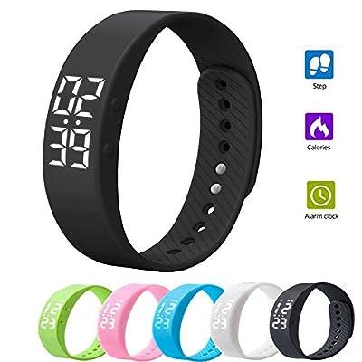 elecfan T5S Smart Bracelet Watch with Vibrating Realtime Showing Waterproof Smart Wristband LED Screen Fitness Tracker Sports Sleep Smart Watch from elecfan