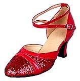 Honeystore Damen's Pailletten Runde Toe Latein Tanzschuhe Rot 5.5 UK