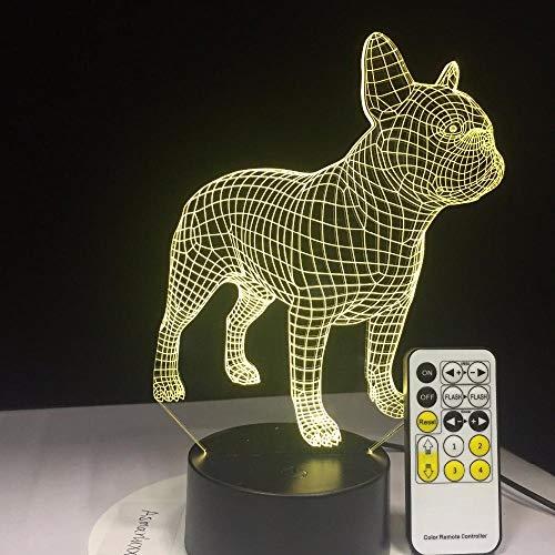 Bouledogue Français 3D Lampe De Table Commande À Distance Led Coloré Chien Veilleuse Cadeau D'Anniversaire Usb Éclairage Du Sommeil