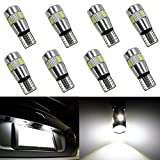 Ralbay 8pcs CANBUS Ampoules LED T10 5630 6SMD W5W 194 168 2825 Feux de position Plaque Lampe Lecture Auto Voiture Intérieur Blanc