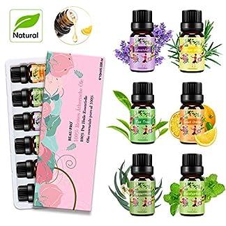 Aceites Esenciales para Humidificador Aceite Esencial 100% Naturales Puro Aromaterapia Esencias para Humidificador-6x10ml Set Lavanda, Eucalipto, Limoncillo, Árbol de Té, Menta, Naranja Dulce