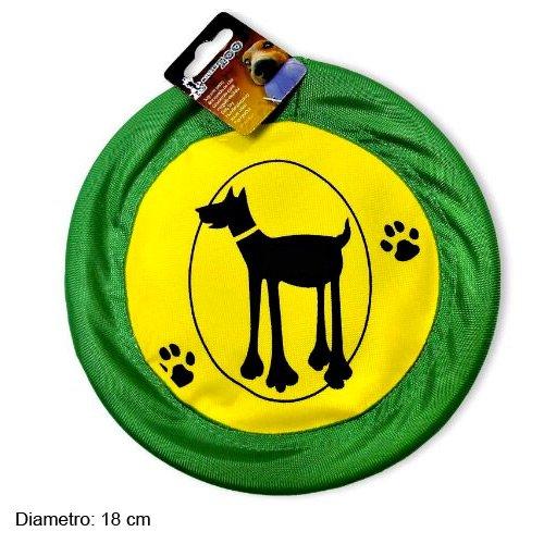Fresbee per Cane Animali Tessuto 18 cm Gioco Cani Giardino Disco Volante Verde