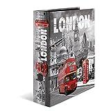 Herma 7172 Karton Motivordner DIN A4, Serie Städte, Design England London, 70 mm breit, 1 Ordner, mit Innendruck