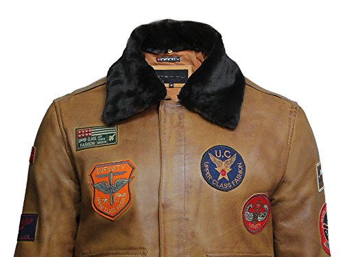 Brandslock Hommes Hommes Air Force Lamb Cuir Cuissard Veste De Voltige Avec Collier Détachable BRONZER