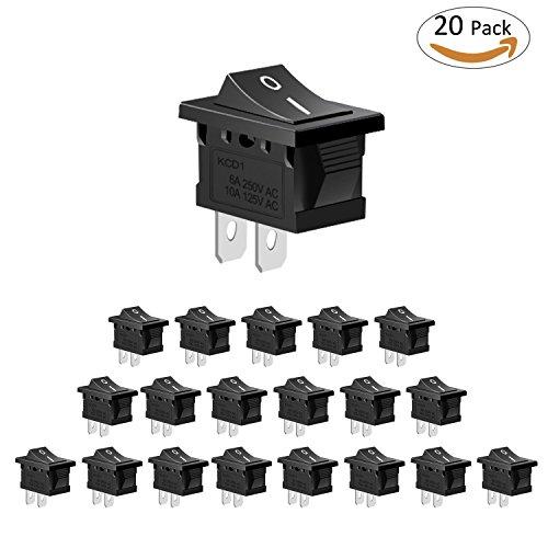 Schalter Snap (Philonext 20 Stück schwarz Runde Wippschalter Ein / Aus Taste SPST 2-Pin-Schalter Snap Toggle für Auto Auto Boot)