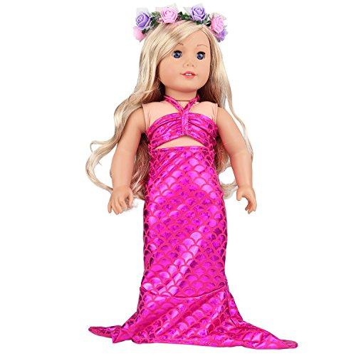 VAMEI One-Piece Sirène Queue Costume Poupée Vêtements Maillot de bain pour 18 pouces American Girl Doll avec 1pc Fleur Couronne Floral Bandeau