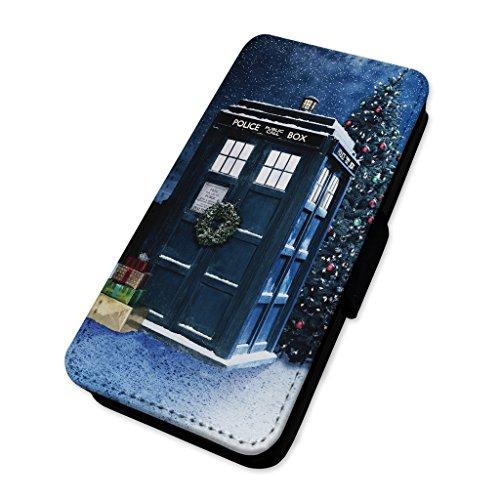 Tardis Inspired Christmas Police box–Custodia ad aletta in pelle copertura di carta Apple iPhone 6/6S