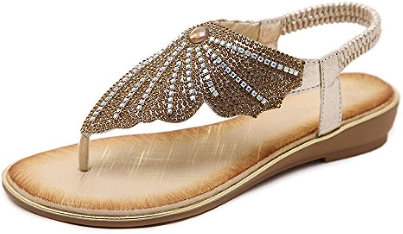 7fac1dfe4d87 XZGC Sandals Female Female Female Summer Butterfly Water Drilling Anti-Slip  Comfort Grip Toe Shoes Beach Oceanfront