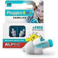 Alpine Pluggies Kids tapones para los oídos para niños y orejas pequeñas - Para niños y canales auditivos más pequeños - Para volar y nadar - Cómodo material hipoalergénico - Tapones reutilizables