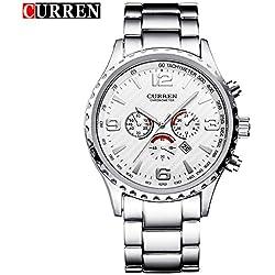 CURREN New Fashion Waterproof Sports Men's Calendar Analog Quartz White Dial Wristwatch 8056G