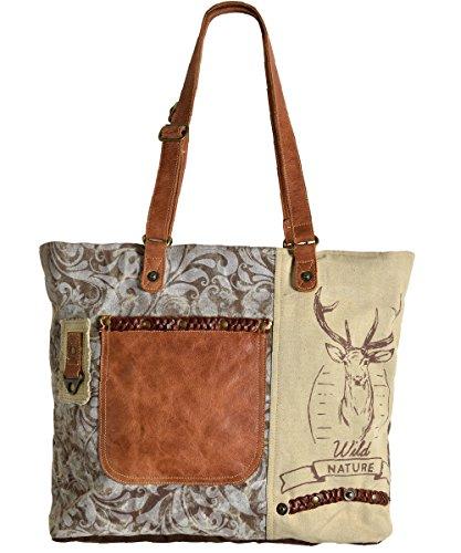 Domelo Tracht Damen Trachtentasche Dirndltasche große Shopper Handtasche Handgelenktasche Vintage Tasche Canvastasche mit Hirsch Design