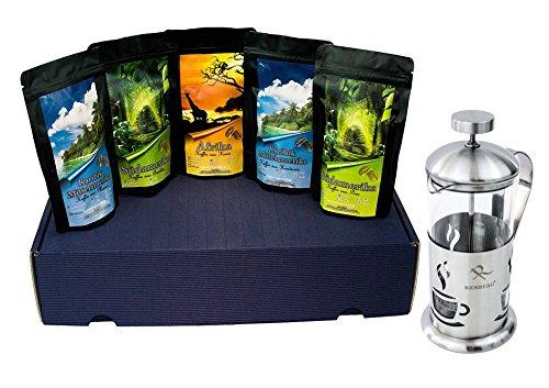 Kaffee aus aller Welt , Filterkaffee im Geschenkpaket frisch geröstet 5 x 65 g gemahlen +...