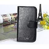 """Prevoa ® 丨Flip Cubierta de cuero de alta calidad funda protectora del caso del soporte para THL T6S 5.0"""" Smartphone - Negro"""