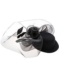 Chapeau Bibi Femme avec Voile Pince Mini Chapeau Plumes pour Costume Soirée Cérémonie Bal