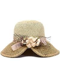 Hosaire 1x Sombreros del sol para Mujer Sombrero de paja Flor Streamers  gorras de Visera UPF 50+ Protección UV… 166c87e7dfb