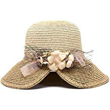 19c254ebf3cf6 Hosaire 1x Sombreros del Sol para Mujer Sombrero de Paja Flor Streamers  Gorras de Visera UPF