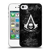 Head Case Designs Offizielle Assassin's Creed Grunge Schwarze Fahne Logos Soft Gel Hülle für iPhone 4 / iPhone 4S