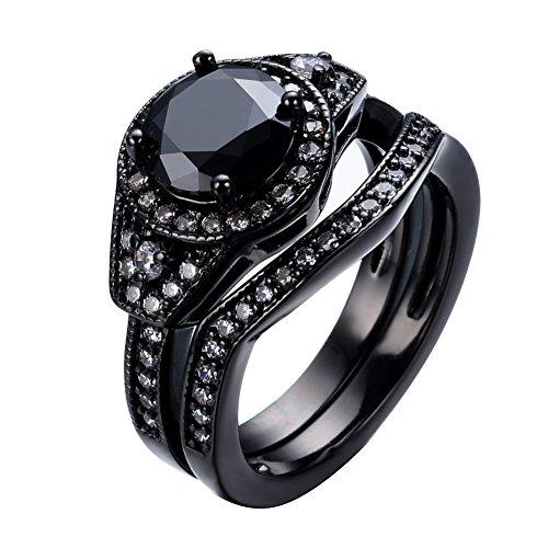 bamos® Jewelry Damen schwarz Saphir weiß oval Diamant Schwarz Gold Hochzeit Doppel Ring Sets Größe 6-9, schwarz, 9 (Sets Ring Black Wedding Ihn)
