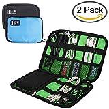 Cavo organizzatore elettronica accessori custodia, Yucool 2confezione borsa da viaggio per hard disk portatile, USB, caricabatterie, cavo di ricarica, Power Bank–nero, blu