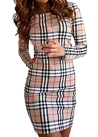 Femme Manches Longues Robe-Package Hanche Col rond Cocktail-Robes Sexy Mini-Robe Orientales Imprimée-Robe et Robe en T-shirt Elegante Moulante-Robe (S=36, Khaki)