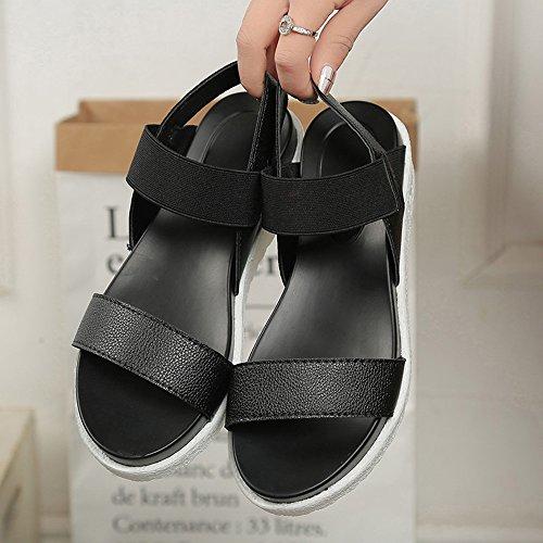 Sandalen Damen Lässig Slingback Leder Peep Toe Flach Sommer Metall Schuhe 4cm Schwarz Weiß Silber 35-40 Schwarz