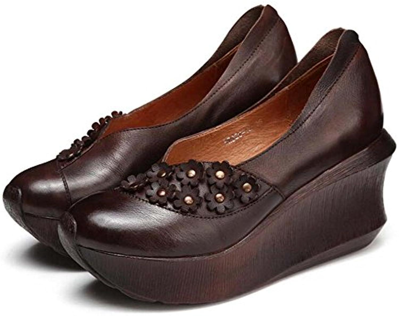 Zapatos de Tacón de Cuña de Mujer Zapatos Hechos a Mano Zapatos de Estilo minoritario de Cuero Primavera y Verano...