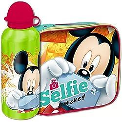 Bakaji Kit Mickey Mouse Topolino Borsa Termica con Borraccia Alluminio Mickey Cestino Termico Merenda Disney per Bambini, Portamerenda Colazione Lunch Box