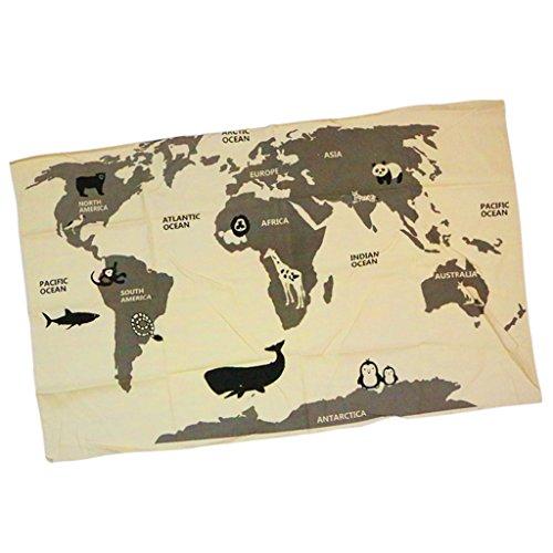 B Blesiya The World Map Linge de Maison Kid Play Pad Enfant Toddler Crawling Mat Décoration Murale