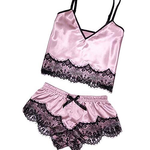 LIGHTBLUE Sexy Slip Satin Nightwear Lace Cami Ungefütterter Pyjama mit V-Ausschnitt Nachtwäsche Faux Silk Nighty für Frauen, Pink, 2XL -