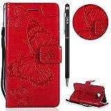 Galaxy A3 2016 Hülle,Galaxy A3 2016 Leder Handyhülle,WIWJ Handyhülle Wallet Case[3D-gedrucktes Schmetterlings Handy Case]Schutzhüllen für Samsung Galaxy A3 2016-Rot