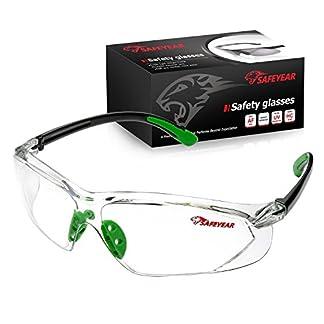 SAFEYEAR Gafas Protectoras Hombres Antiniebla – Gafas de Seguridad con Lentes Antiarañazos SG003 Color Negro y Verde