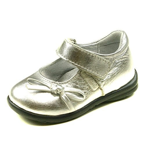 Ankle Strap Flat (MINI NINETTA Step2wo Ankle Strap Shoe Flat for Girls in Silver Leather Größe 19)
