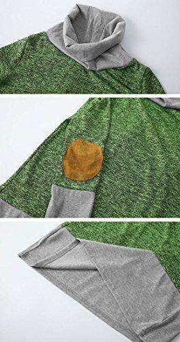 Tomwell Donna Autunno Manica Lunga Strisce Cappotto Giacca Felpa con Cappuccio Oversized Sweatshirt Hoodies Pullover Moda Tasca Frontale AA Verde