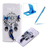 TPU Case for Samsung Galaxy Core Prime G360,Clear Case for Samsung Galaxy Core Prime G360,Herzzer Ultra Slim Stylish [Butterfly Dreamcatcher Pattern] Soft Silicone Gel Bumper Cover Flexible Crystal Transparent Skin Protective Case for Samsung Galaxy Core Prime G360 + 1 x Free Blue Cellphone Kickstand + 1 x Free Blue Stylus Pen
