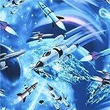 Timeless Treasures Blauer Stoff mit Raketen