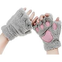 BXT da donna guanti invernali guanti artiglio di animale cartone animato dita spessa e calda peluche pile Coral String Guanti Guanti