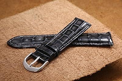 correas de reloj de cuero 18-22mm de los hombres de gama alta de lujo negro correas reemplazos del grano del cocodrilo en relieve pesada genuina piel de vaca italiana