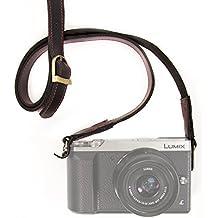 MegaGear correa de cuero hecha a mano - acolchado de confort, seguridad para todas las cámaras (Negro)