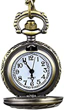 SODIAL(R)Reloj de bolsillo de cuarzo Steampunk Bronce retro Reloj de cadena de pendiente Modelo de poker