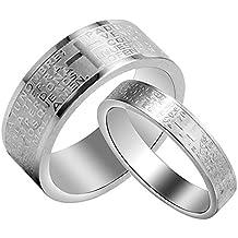 BOBIJOO Jewelry - Alliance Bague Argenté Jesus Croix Bible Prière Homme OU Femme Mariage Latine
