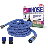 The Official XHose Expanding Garden Hose Pipe with BONUS adaptor, 75ft, Blue